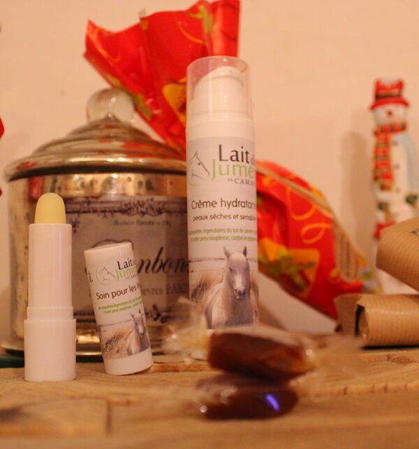 coffret cadeau pour Noel lait de jument bonbon crème savon